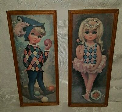 Pair of Vintage Adorable Wooden Framed Goji Big Eyed Pictures