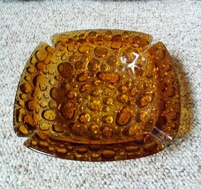 Vintage Heavy Bubble Glass Ashtray Large Amber Gold Dish Retro Chic Hippie Mod