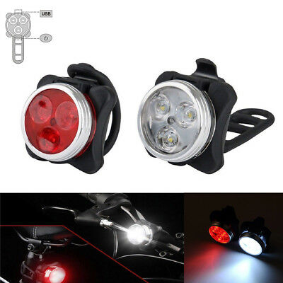 3 LED USB Rechargeable Bike Headlight Taillight Caution Bicycle Lights Red+White