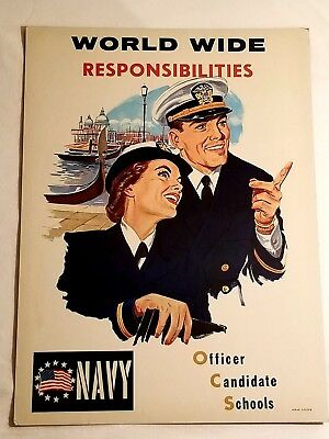 """Vintage Original US Navy Girl Recruiting Poster """"Officer Candidate Schools"""" Rare"""