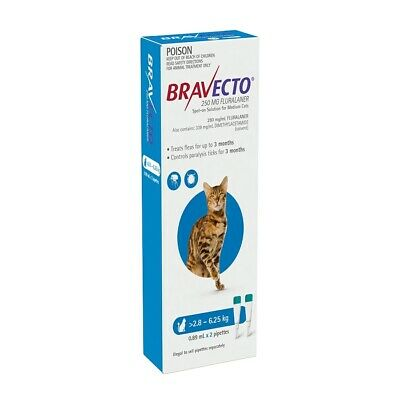 Bravecto for Cats - 3 month Flea & Tick Protection - 2.8-6.25kg