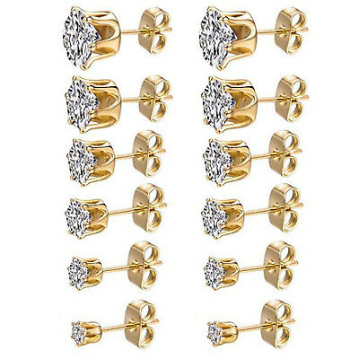 3mm-8mm Women's Stainless Steel Gold Round Clear Cubic Zirconia Stud Earrings