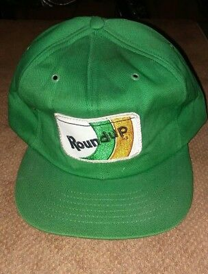 27f84bcf90486 Vintage Round Up Snapback Trucker Hat Cap UPSTREAM 80s Farmer Patch Green