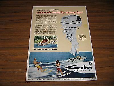 1960 Print Ad Gale Sovereign 35 HP Outboard Motors Couple Water Ski