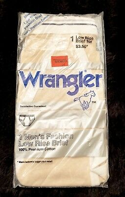 Vintage WRANGLER Men's Low Rise Briefs TAN Cotton 1983 NOS Size 38