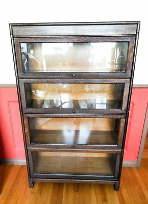 Antique Oak Barrister Lawyers Cabinet Gunn 4 Sectional Stacking Bookcase 1900s
