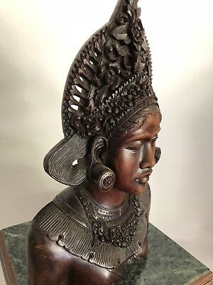 Incredible Hand Carved Wood Bust, Museum Quality, Incredibly Intricate