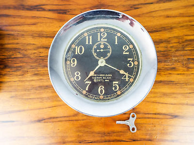 Vintage WW2 Seth Thomas Mark I Deck Clock Brass Nickel Plated US Navy 1940