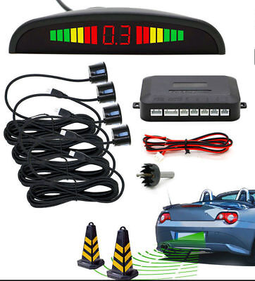 New Parking Sensor Rear 4 Black Sendors LCD Display Audio Buzzer Alarm