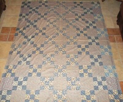 Antique / Vintage Nine-Patch Quilt Top 1930's ~ Hand Pieced Never Washed 67 x 82