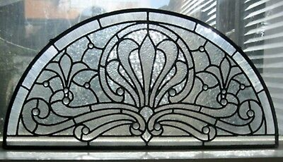 """Clear Textured Original Design Arch Stained Glass Panel-16"""" tall by 32"""" wide"""