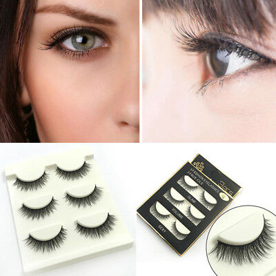 3D Luxurious Real Mink Natural Cross Long Thick Eye Lashes False Eyelashes 3x AU