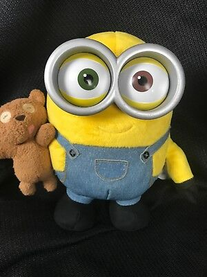 Thinkway Toys Minions Bob with Teddy Bear Talking Light Up Plush 10""
