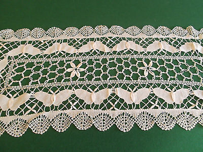 """New * 100% Cotton Hand Made Cluny Bobbin Lace Runners * Beige * 16 X 45"""" Oblong."""