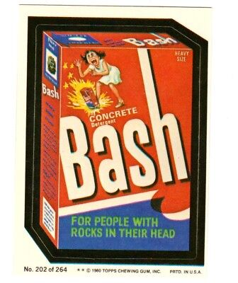 "1980 Wacky Packages 4th Series ""BASH DETERGENT"" #202 Sticker Card"