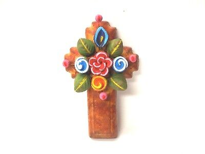 Cross with Flowers Rustic Antiqued Southwest Decor  - Mexican Folk Art