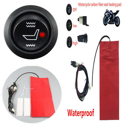 12V Motorcycle Carbon Fiber Waterproof Heating Seat Pad Heater w/High&Low Switch