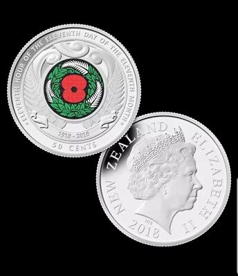 Nz Armistice Poppy Roll 2018 50 Cent Contains 20 Coins.very rare.hurry few left.