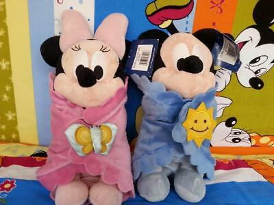 New Disney Babies Mickey and Minnie Blankets Plush Doll toy Gift