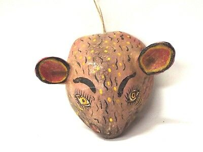 Hand carved small wooden mouse mask - Mexican Folk Art Guerrero