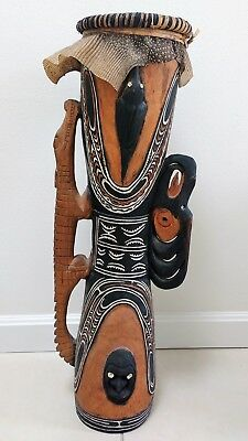 Hand Carved PNG Kundu Drum from Sepik River area Papua New Guinea