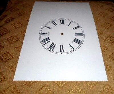 "Steeple Paper Clock Dial- 5"" M/T -Roman Numerals-White-Face /Clock Parts/Spares"