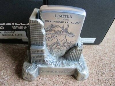 1998 Zippo Godzilla Limited Edition Original Box Lighter and Holder Used Good