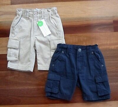 Two Boys Size 2 Cargo Style Shorts by PUMPKIN PATCH in Navy Blue and Wheat