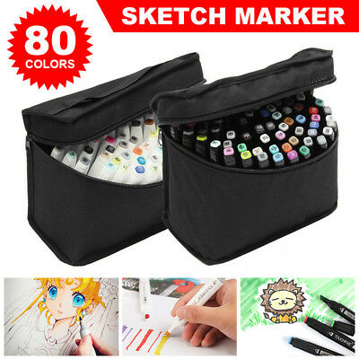 80 Colour Set Marker Pen Touch New Graphic Art Five Sketch Twin Tips Broad Bag