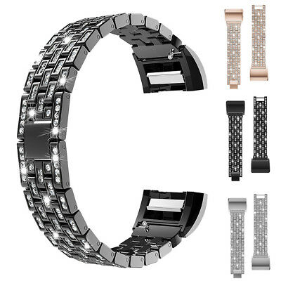 Replacement Metal Wrist Band Rhinestone Watch Strap Bracelet For Fitbit Charge 2