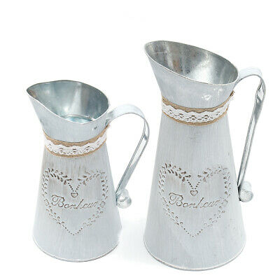 [NEW] 1Size Only Rustic Iron Jug Vintage Country Style Pitcher Flower Metal Vase