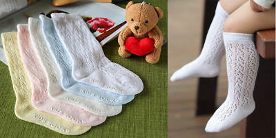Baby Knit Eyelet Knee High Cotton Socks Christening Wedding Party Non Slip