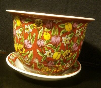 New England Pottery Hand Decorated Planter Colorful Flowers Roses