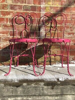 Set (2) Antique Twisted Metal Iron Ice Cream Parlor Bistro Chairs Wood Seats 18""