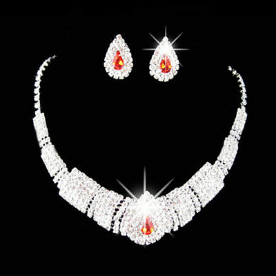 Bridal Crystal Water Drop Rhinestone Chain Necklace Earrings Jewelry Set LH