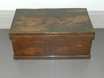 Original Painted Antique Pine Blanket Box Wooden Chest Trunk  coffee table