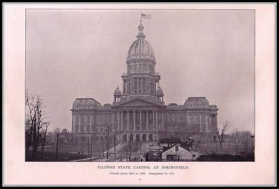 1893 Vintage Print - Illinois State Capitol At Springfield