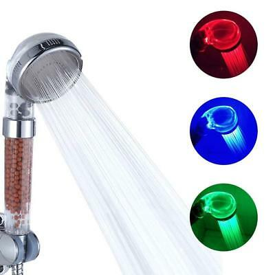 Color Changing 12 LED Light Up Handheld Shower Head High Pressure Ionic Filter
