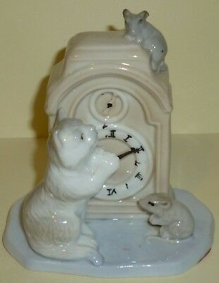 Vintage Cat, mice and clock ornament. Foreign made in great condition