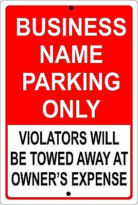 """Personalized Business Parking Sign Aluminum No Rust Custom Metal Sign 8"""" X 12"""""""
