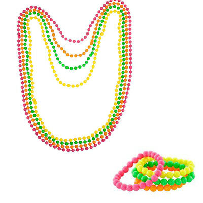 80s Neon Colour Beads Necklaces Bracelet Costume Accessory Fancy Dress Party