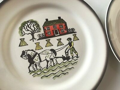 "Metlox POPPY TRAIL Colonial Heritage 10"" DINNER PLATES (2), VTG Pottery - V Good"