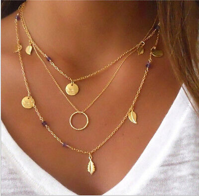 Women Celebrity Circle Sequin Coin  Leaf Pendant Multi Layer Chain Necklace LH