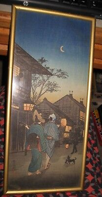 "Signed Moonlit Evening Street Shamisen Performer  Woodblock 14 1/4"" x 6 1/8"""