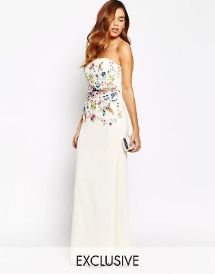 Bnwt £85 Little Mistress Asos Floral Embroidered Maxi Dress Size Uk 8