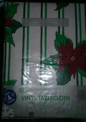 New Vinyl Christmas Tablecloth Round 60 inches
