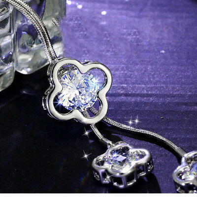 Ladies Crystal Four Leaf Clover Lucky Flower Pendant Necklace Sweater Chain LH