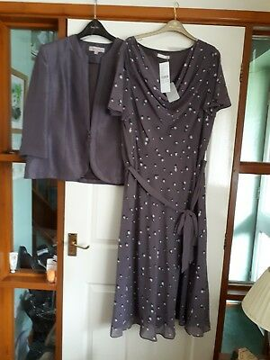 Jacques Vert Dress (BNWT) And Jacket Size 22 Dark Purple