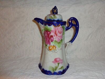 Antique or Vintage Hand Painted Rose & Floral Decorated Lidded Chocolate Pot