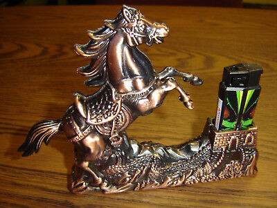 Vintage Horse With Refilliable Electric Lighter Stand